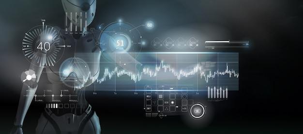ロボットは、ホログラフィック パネルの 3 d レンダリングでストック データを操作します。