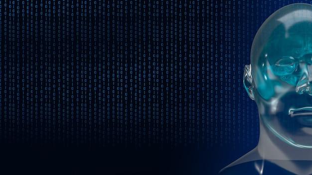 그래픽 요소 얼굴이 있는 로봇 인간 머리는 인공 지능 및 기계 학습 개념 3d 렌더링을 나타냅니다.