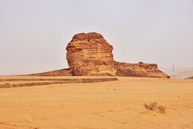 砂漠の岩がサウジアラビアのアルウラを閉じる