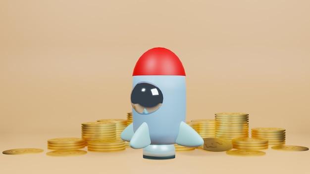 スタートアップコンテンツの3dレンダリング用のロケットと金貨