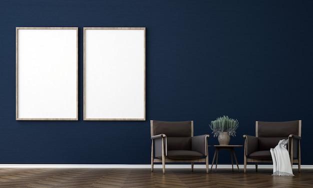 빈 파란색 벽, 3d 렌더링에 거실과 캔버스 포스터의 방 인테리어 디자인