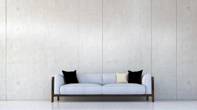 빈 콘크리트 벽에 거실과 캔버스 포스터의 방 인테리어 디자인, 3d 렌더링