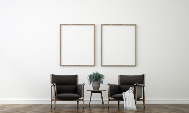 빈 흰색 벽, 3d 렌더링에 거실과 캔버스 포스터의 방 인테리어 디자인