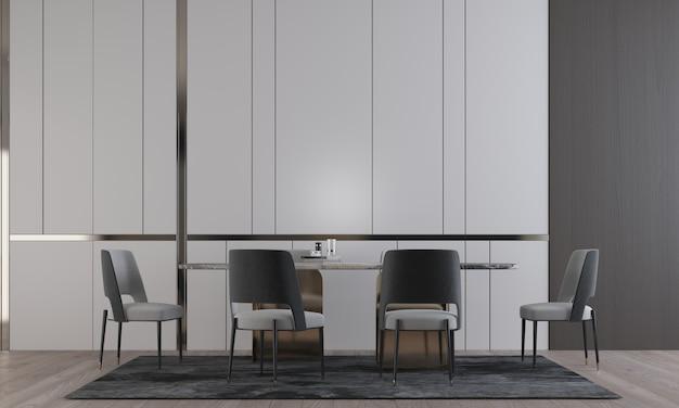 고급 식당과 빈 벽 패턴, 3d 렌더링의 방 인테리어 디자인