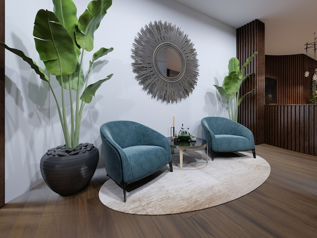 휴식 공간에는 파란색의 디자이너 안락의자가 2개 있습니다.