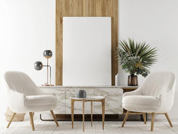Скандинавский дизайн интерьера гостиной с макетом постера-рамы, мебелью и предметами интерьера, 3d визуализация, 3d иллюстрация