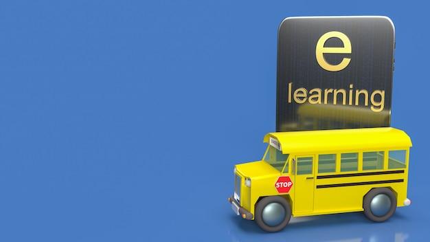 Школьный автобус и планшет для онлайн-обучения или электронного обучения концепции 3d-рендеринга.