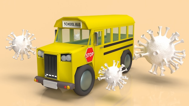 학교 개념 3d 렌더링에서 코로나 바이러스 위기에 대한 스쿨 버스 및 흰색 바이러스