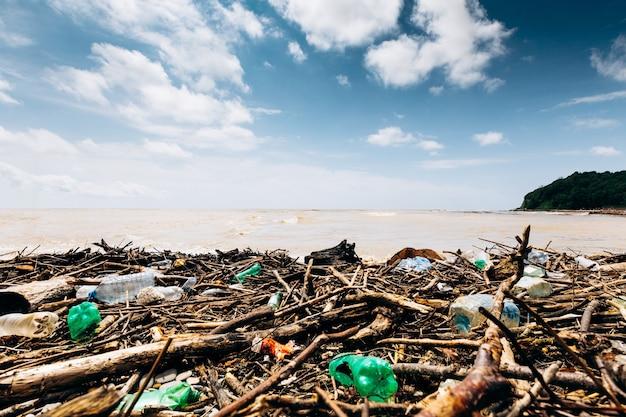 嵐の後の海岸。ビーチのプラスチックや木材の廃棄物は環境を汚染します。環境問題。