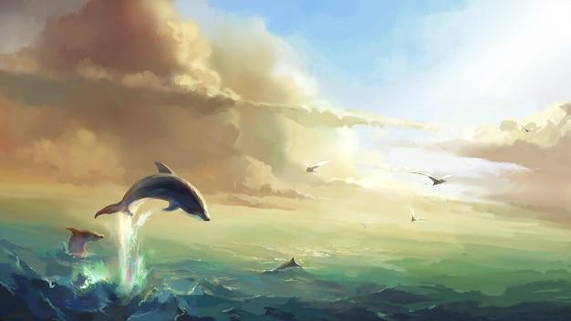太陽の下の海、ジャンプするイルカのイラスト。