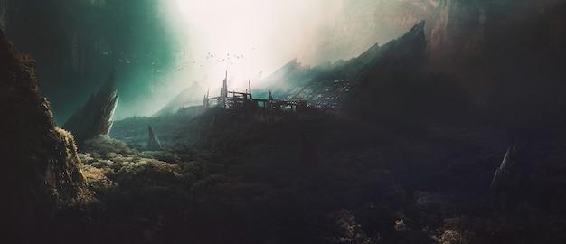 협곡의 비밀 연구소, 3d 렌더링.