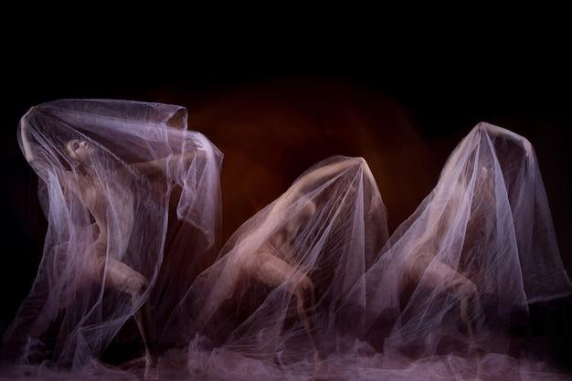 ベールのある美しいバレリーナの官能的で感情的なダンス。