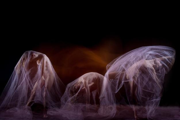 ベールのある美しいバレリーナの官能的で感情的なダンス