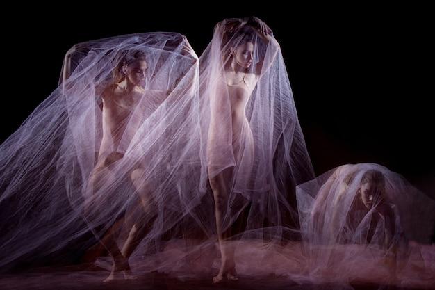 美しいバレリーナの官能的で感情的なダンス