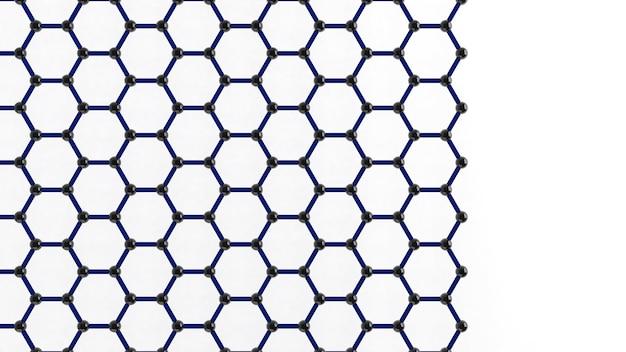ナノテクノロジーの形状構造、未来のナノテクノロジー、グラフェン、3dレンダリング