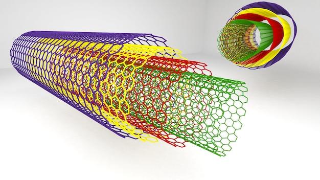 ナノテクノロジーの形状構造、未来のナノテクノロジー、多層カーボンナノチューブ、3dレンダリング