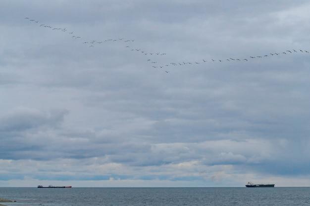 船は美しい曇り空を背景に海を航行します。静かな海面
