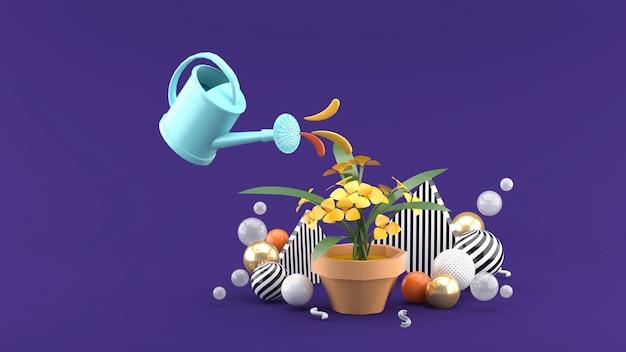 Душ поливал цветы среди разноцветных шариков на фиолетовом пространстве