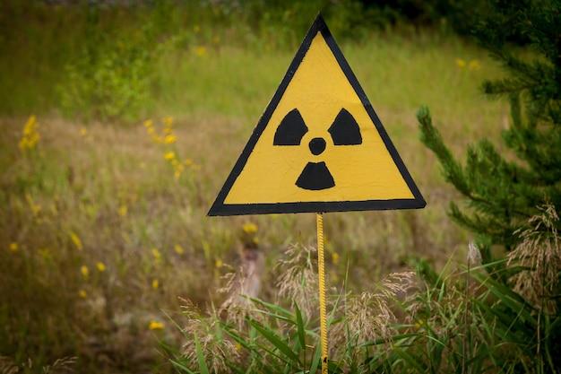 Вздох радиации на зеленом поле в припяти, чернобыль Premium Фотографии