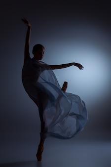 Силуэт красивой балерины, танцующей с вуалью на синем фоне Premium Фотографии