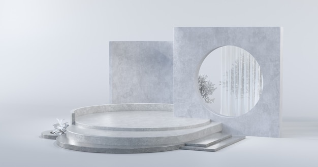 콘크리트 재료와 연단의 간단한 디자인 컨셉 3d 렌더링입니다.