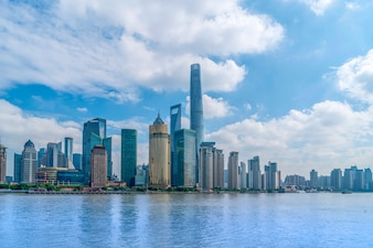 The skyline of urban architectural landscape in the Bund, Shanghai