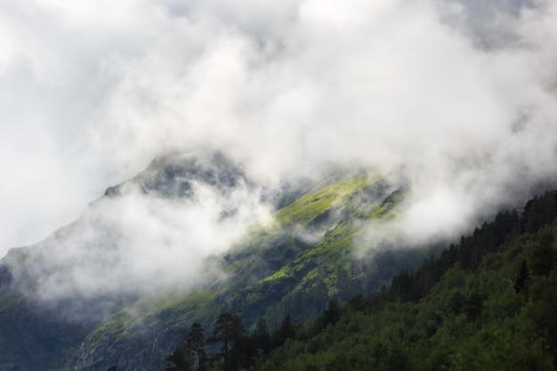 Склон горы с растительностью скрыт облаком
