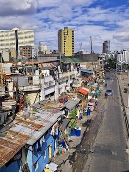 フィリピンのマニラ市のスラム街