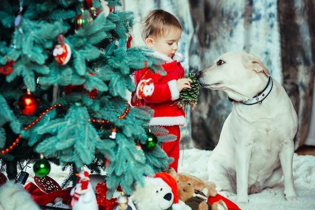 小さい子供と犬はクリスマスツリーの近くに立つ