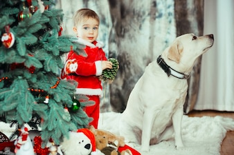 The small child and labrador dog stand near Christmas tree