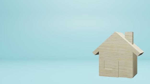 속성 콘텐츠 3d 렌더링에 대 한 파란색 배경에 나무 작은 집