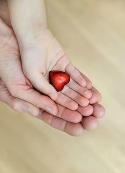 작은 붉은 마음이 손에 있습니다.