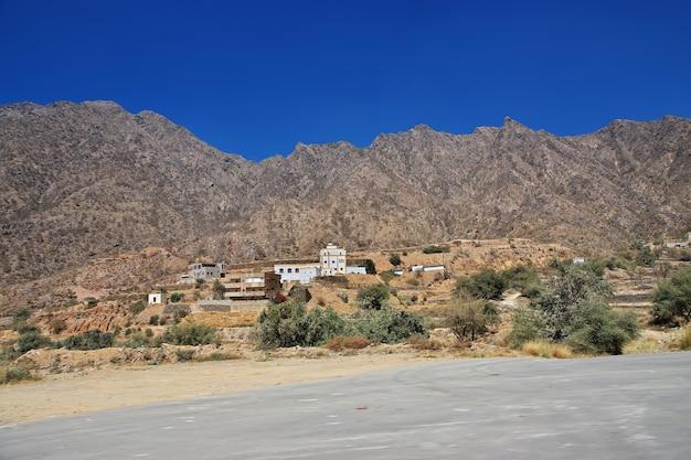 サウジアラビア、アシル地域の峡谷にある小さな村