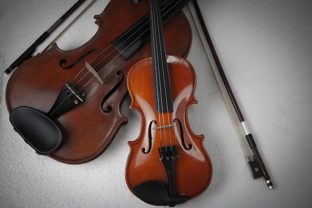 小さいバイオリンを大きいバイオリンの横に置き、アコースティック楽器の詳細とさまざまなサイズを表示します