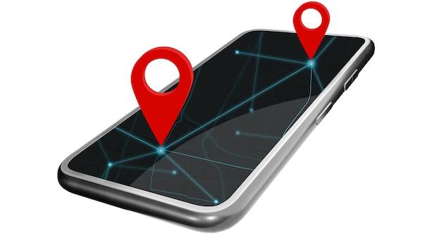 スマートフォンは、地図アプリケーションで座標を提供します。赤いピンはgpsナビゲーション座標を設定します。クリッピングパスあり