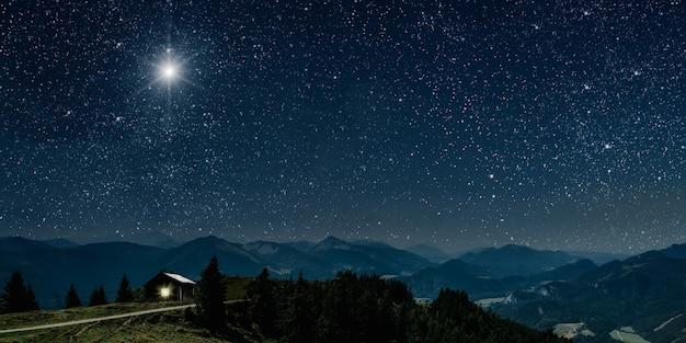 Звезда светит над яслями рождества иисуса христа.