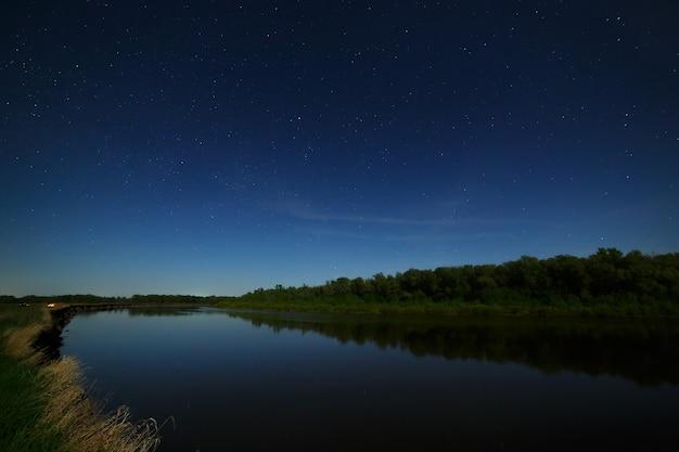 夜空の星が川に映る