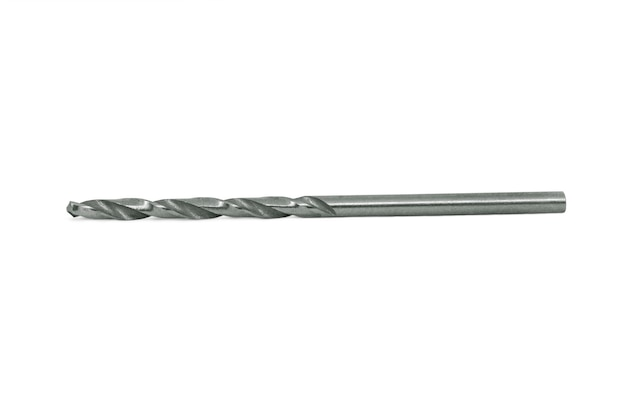 흰색 표면에 고립 된 작은 직경의 금속 용 강철 드릴 비트