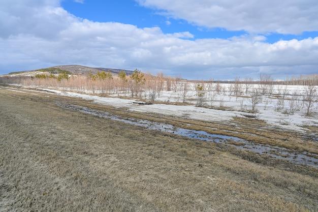 Степи, снег, кусты, трава и пасмурное небо. река волга. весенний пейзаж.