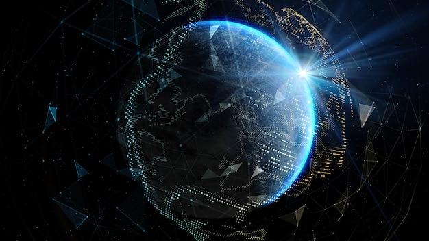 Солнечные лучи над землей в космическом пространстве. элементы этого изображения, предоставленные наса. 3d иллюстрации