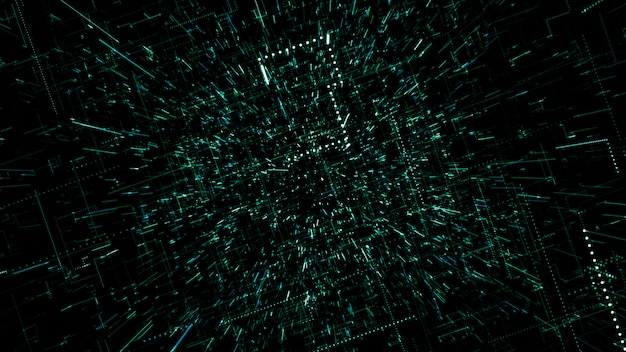 Поверхность технологии с линиями хаоса и сетки представляет собой абстрактное компьютерное изображение с хроматическими аберрациями. цифровое искусство: темный технический, научно-фантастический или научно-фантастический фон. 3d иллюстрация