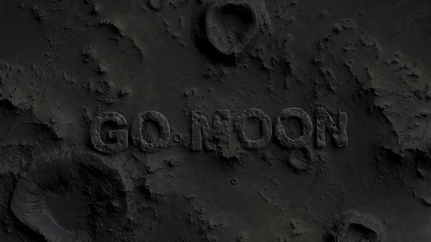 Поверхность луны в кратерах с надписью «go moon» крупным планом.