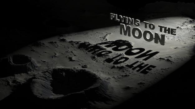 Поверхность луны с кратерами с надписью «полет на луну».