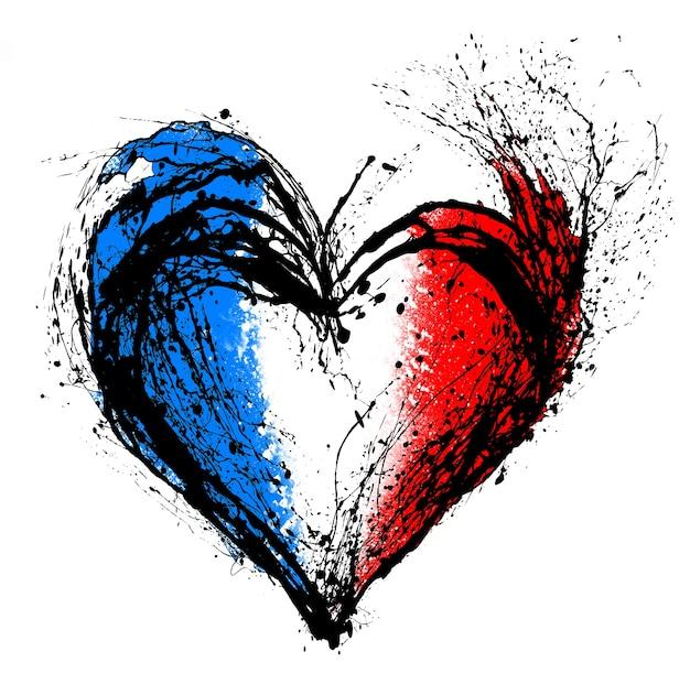 Символическое изображение разбитого сердца в цветах французского флага.
