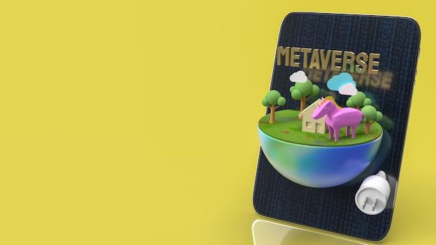 テクノロジーまたはvrコンセプトの3dレンダリングのメタバースのためのテーブルと地球