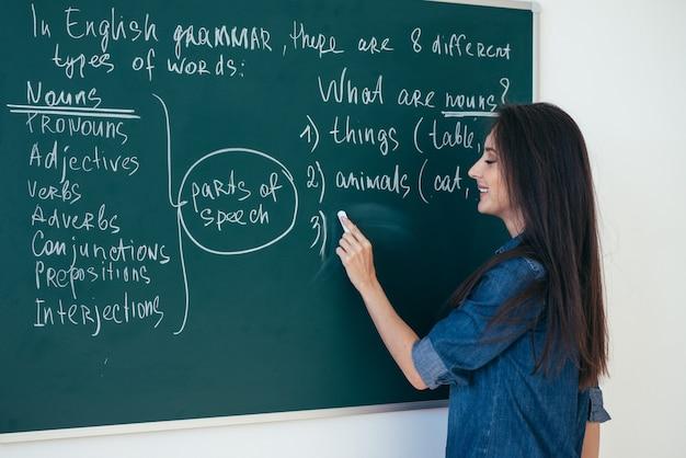 先生は黒板に英語のルールを書きます。言語を学ぶ。