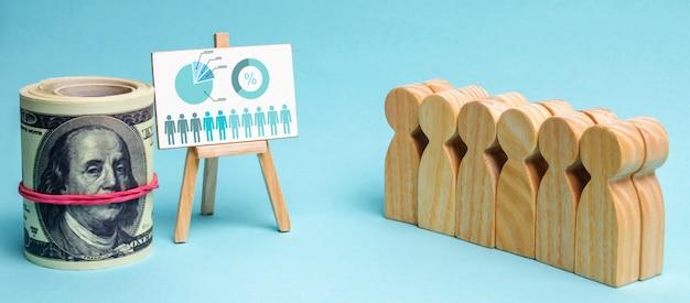 Команда стоит рядом с бизнес-диаграммой и деньгами. концепция бизнес-стратегии.