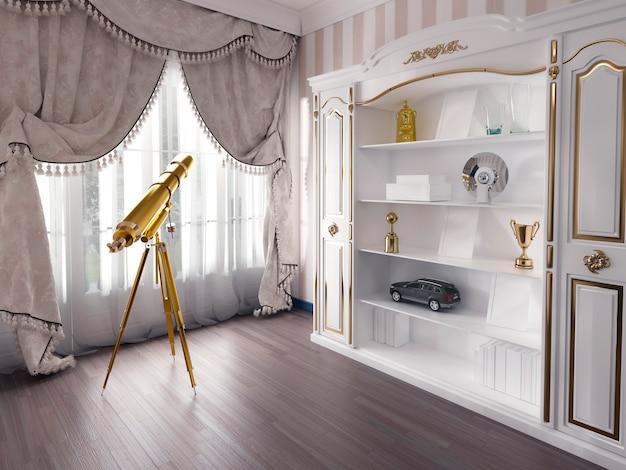Телескоп в классической детской комнате .. 3d рендер.