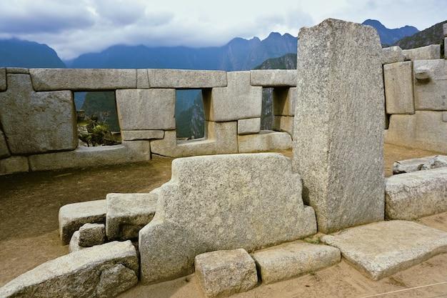 페루 마추 픽추의 세 개의 창문 사원.