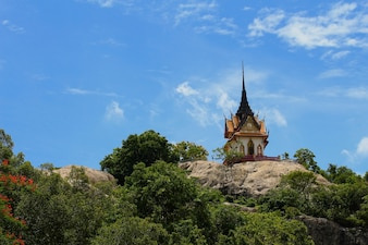 The temple on mountain with blue sky